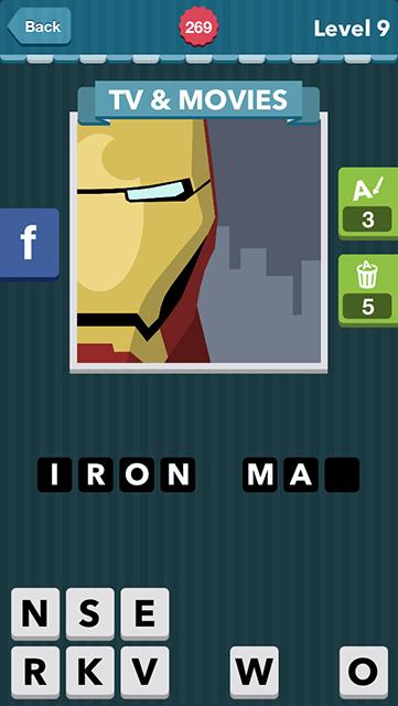 Icomania Answer Level 9 Iron Man tv & movies: yellow face robot